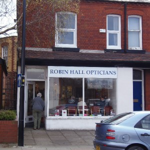 The Front of the Robin Hall Opticians Practice, Manchester